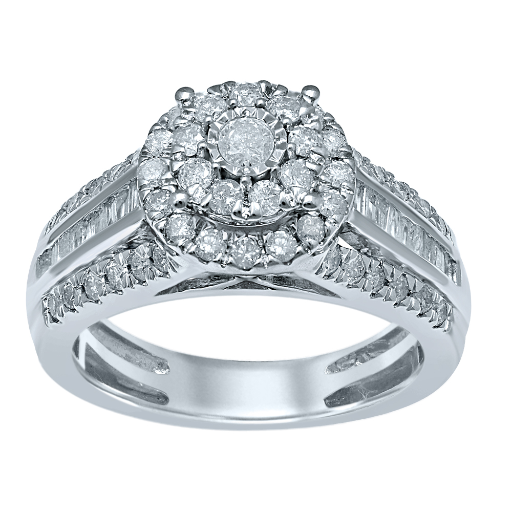 Sterling Silver 1.00 Carat Diamond Ring