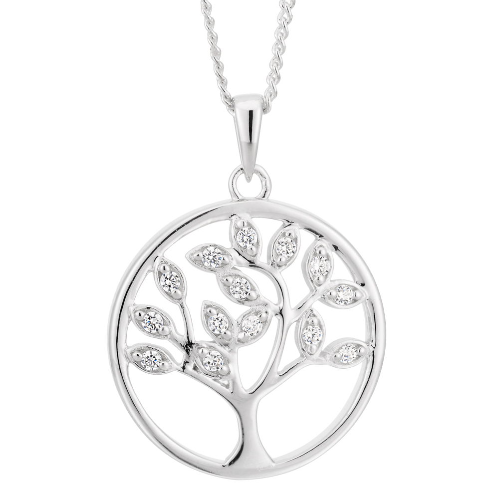 Sterling Silver Rhodium Plated Cubic Zirconia Tree of Life Pendant Chain 45cm
