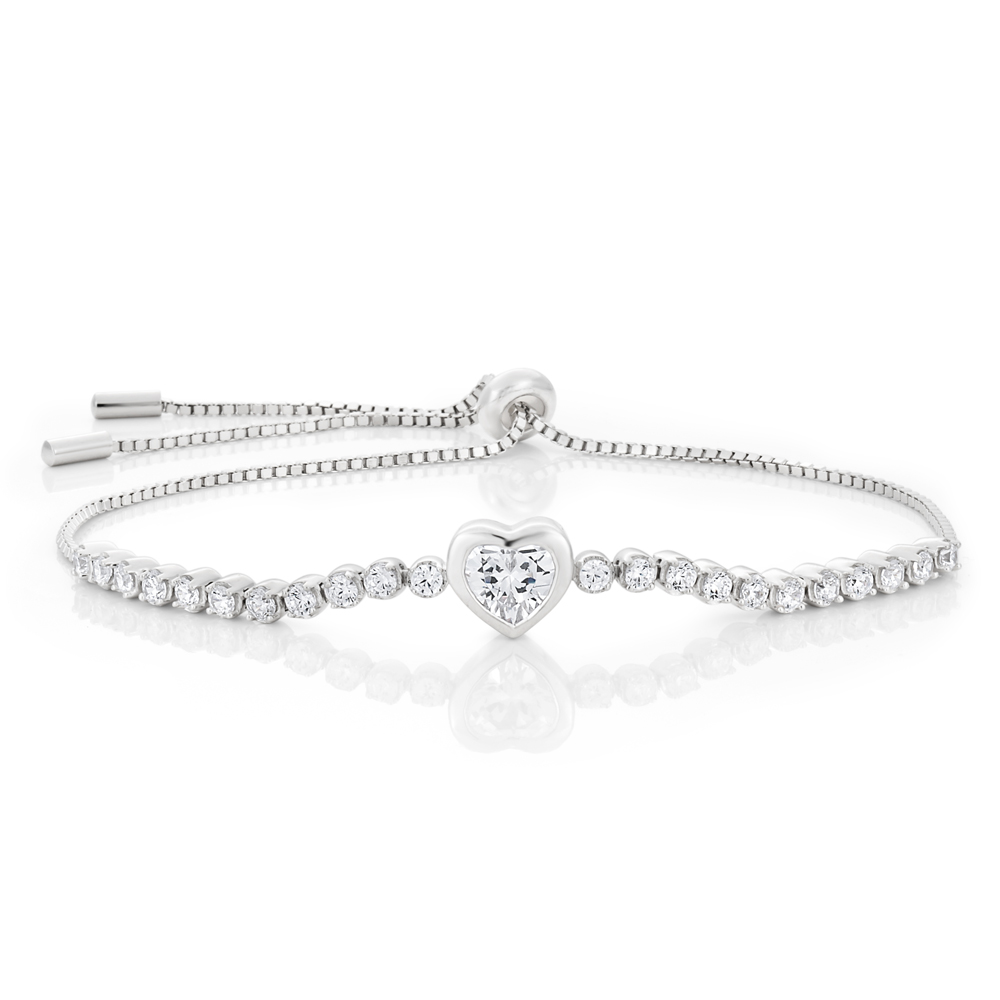 Sterling Silver Rhodium Plated Zirconia Heart Adjustable Bracelet