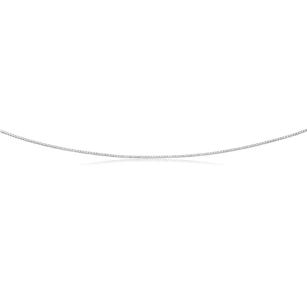 Sterling Silver Rhodium Plated 50cm 40 Gauge Wheat Chain