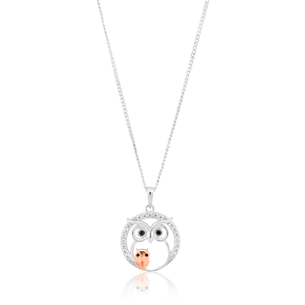 Sterling Silver Rhodium and Rose Gold Plated Owl Zirconia Pendant