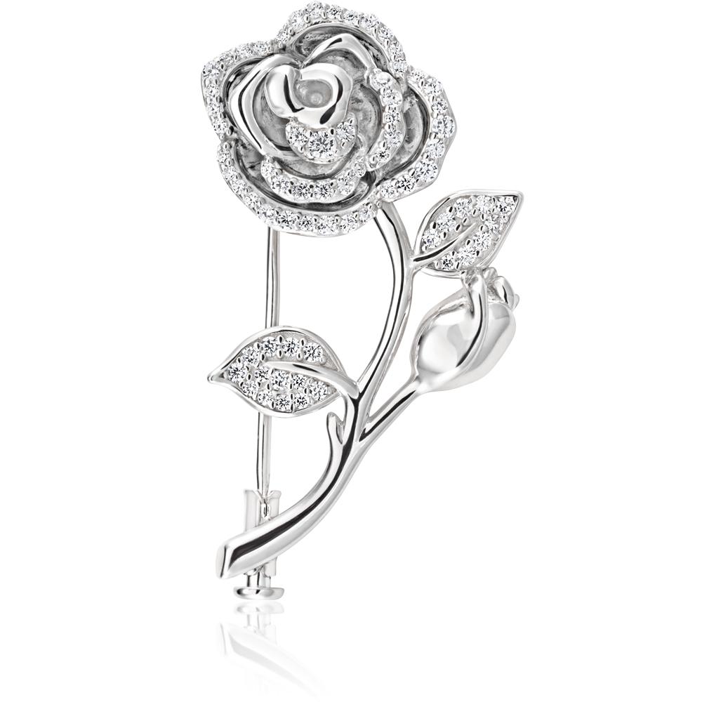 Sterling Silver Rhodium Plated Fancy Rose Cubic Zirconia Brooch
