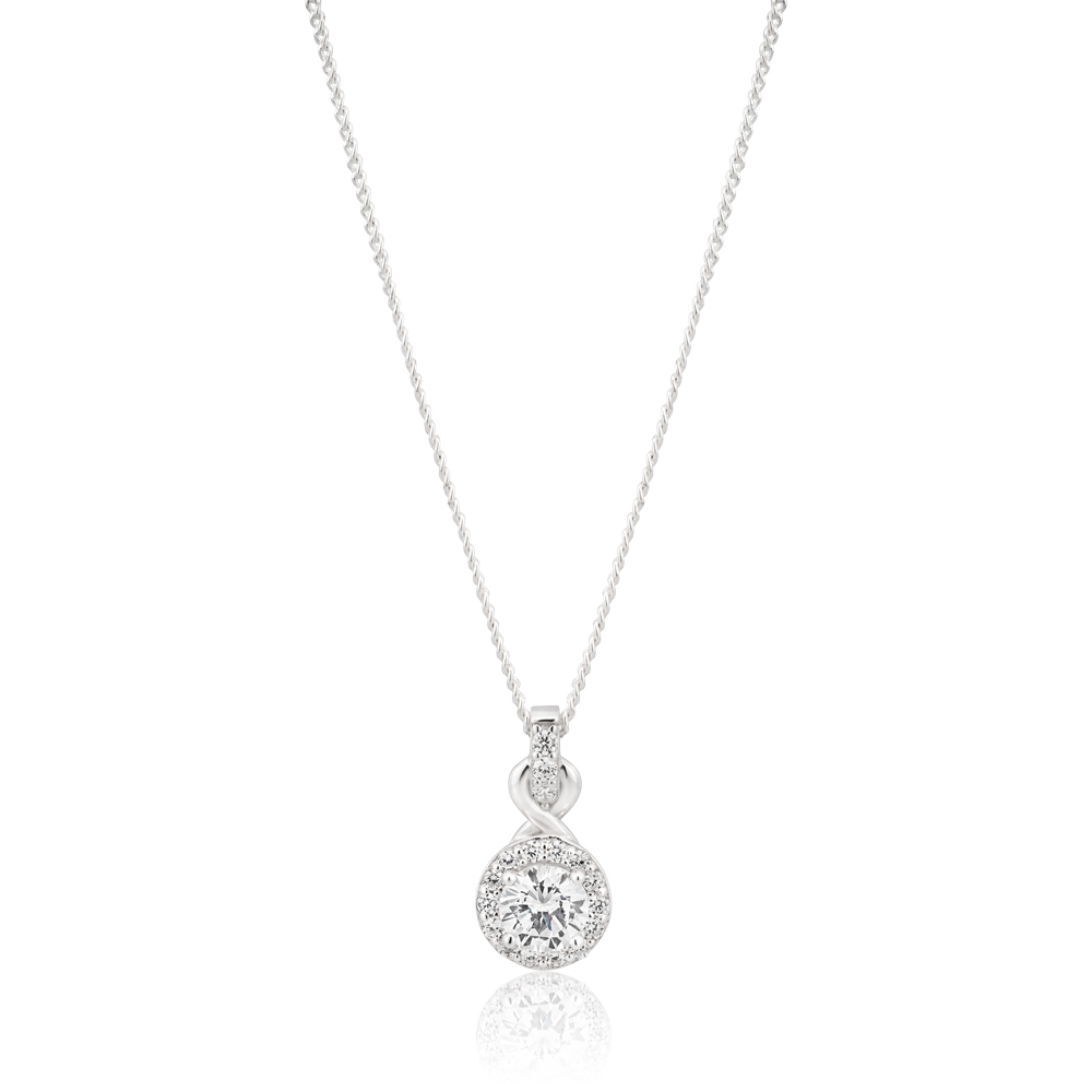 Sterling Silver Rhodium Plated Cubic Zirconia Halo Infinity Pendant