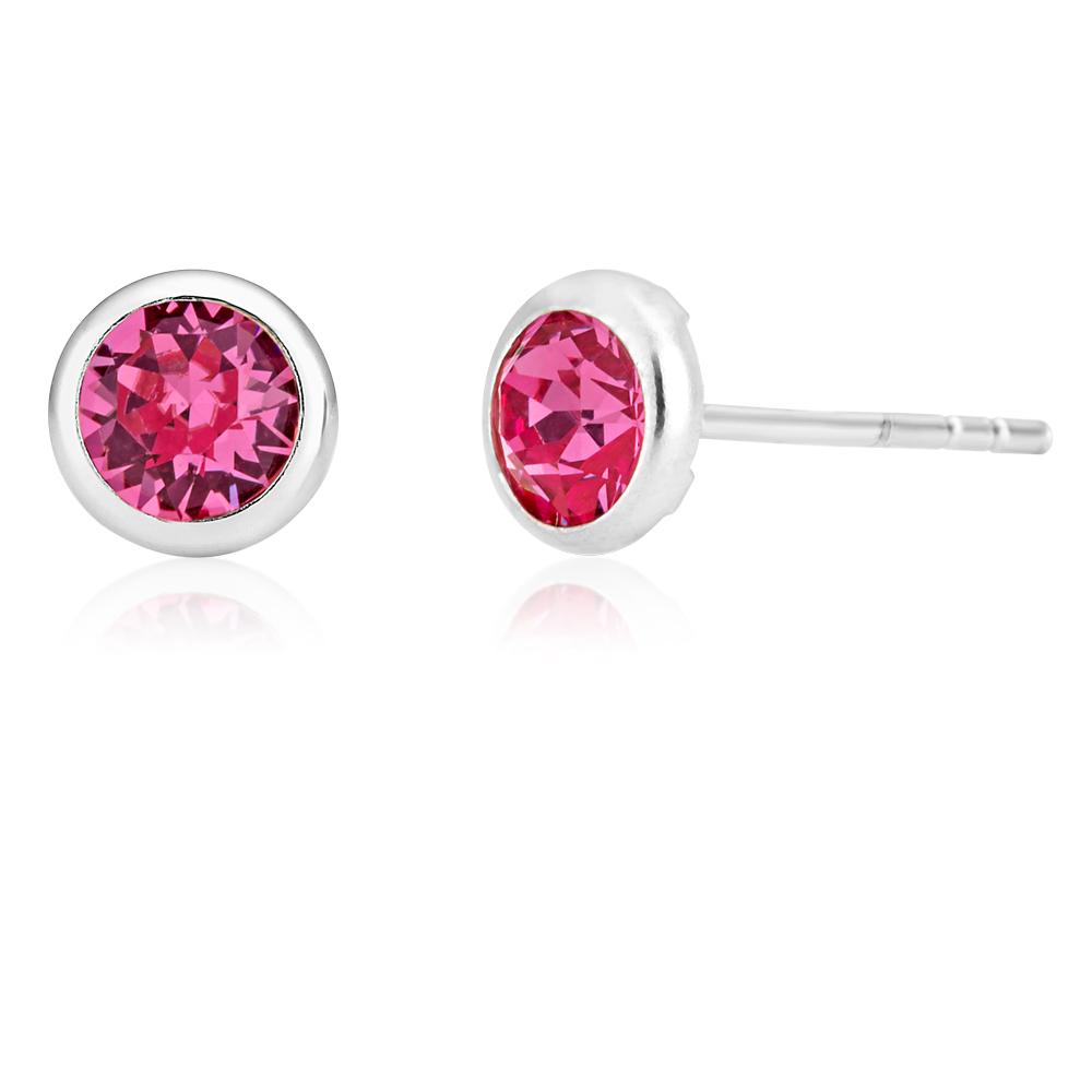 Sterling Silver 5mm Pink Swarovski Crustal Stud Earrings