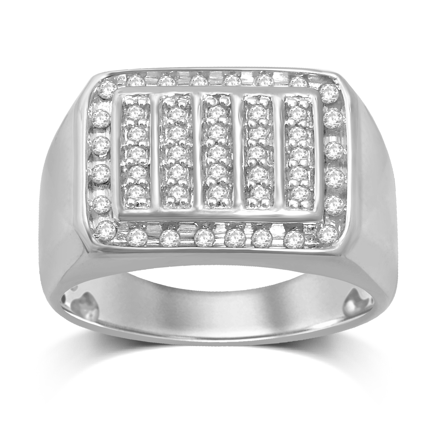 1/2 Carat of Diamond Gents Ring in Sterling Silver