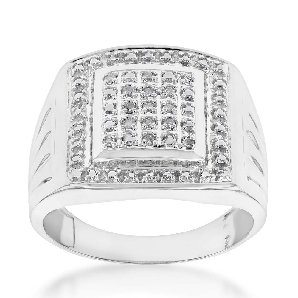 10 Points of Diamond Gents Ring in Sterling Silver