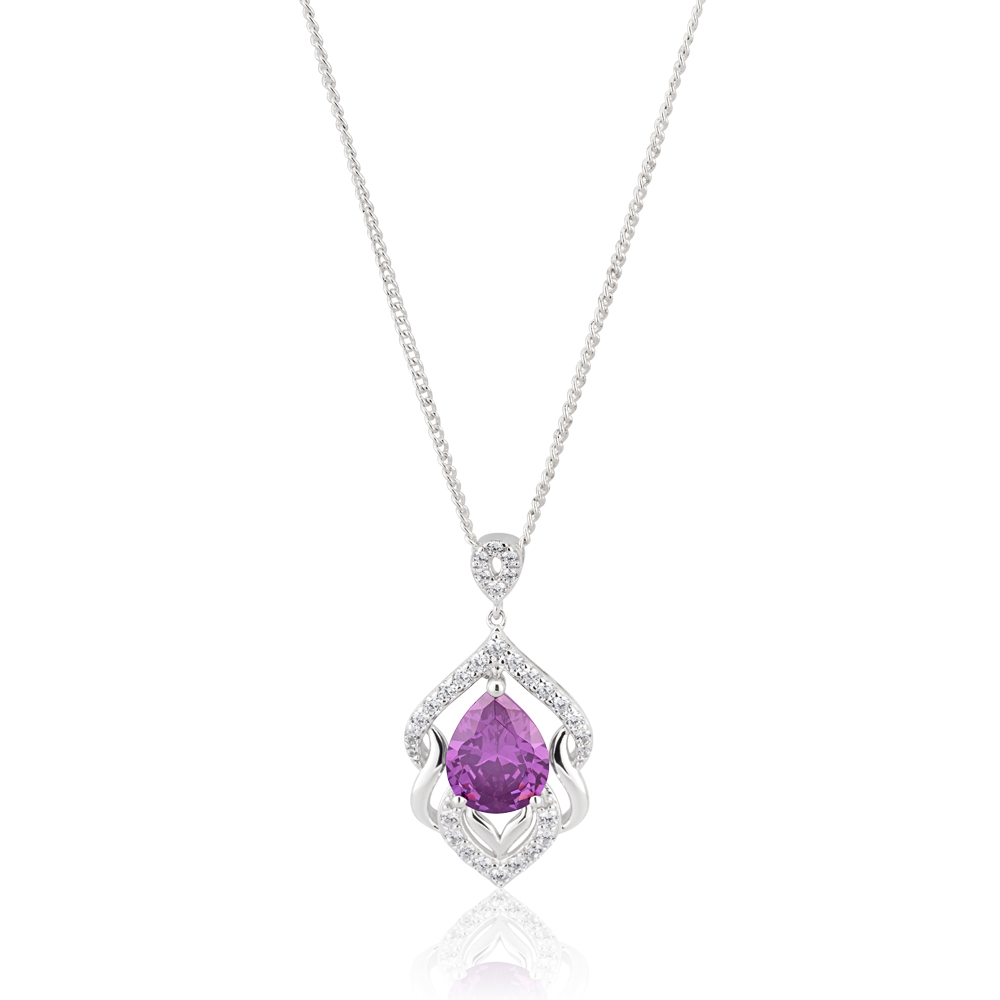 Sterling Silver Rhodium Plate Purple Zirconia Fancy Pendant