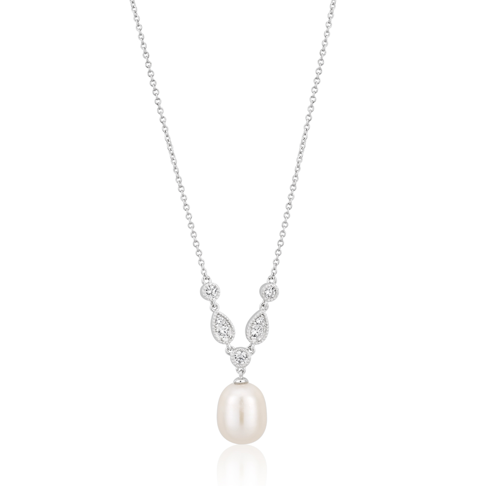 Sterling Silver Freshwater Pearl and CZ Necklet with 45cm Chain