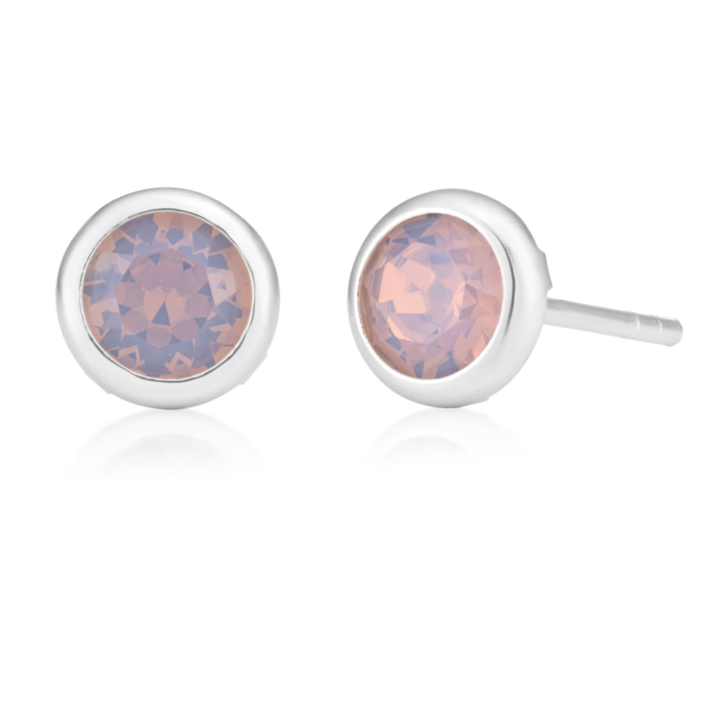 Sterling Silver Swarovski Light Pink Crystal Stud Earrings