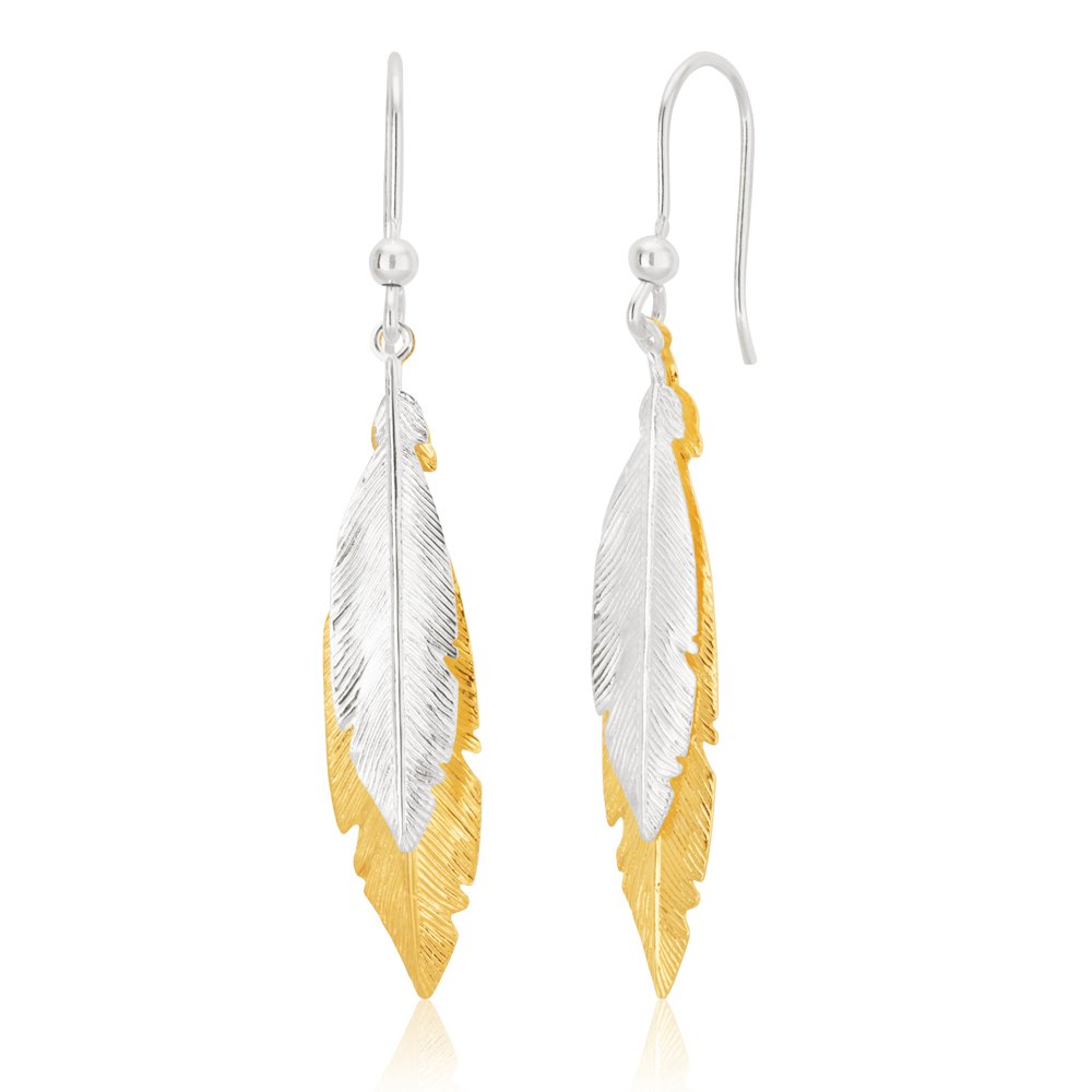 Sterling Silver and Gold Plate 42cm Multi Feather Two Tone Drop Hook Earrings