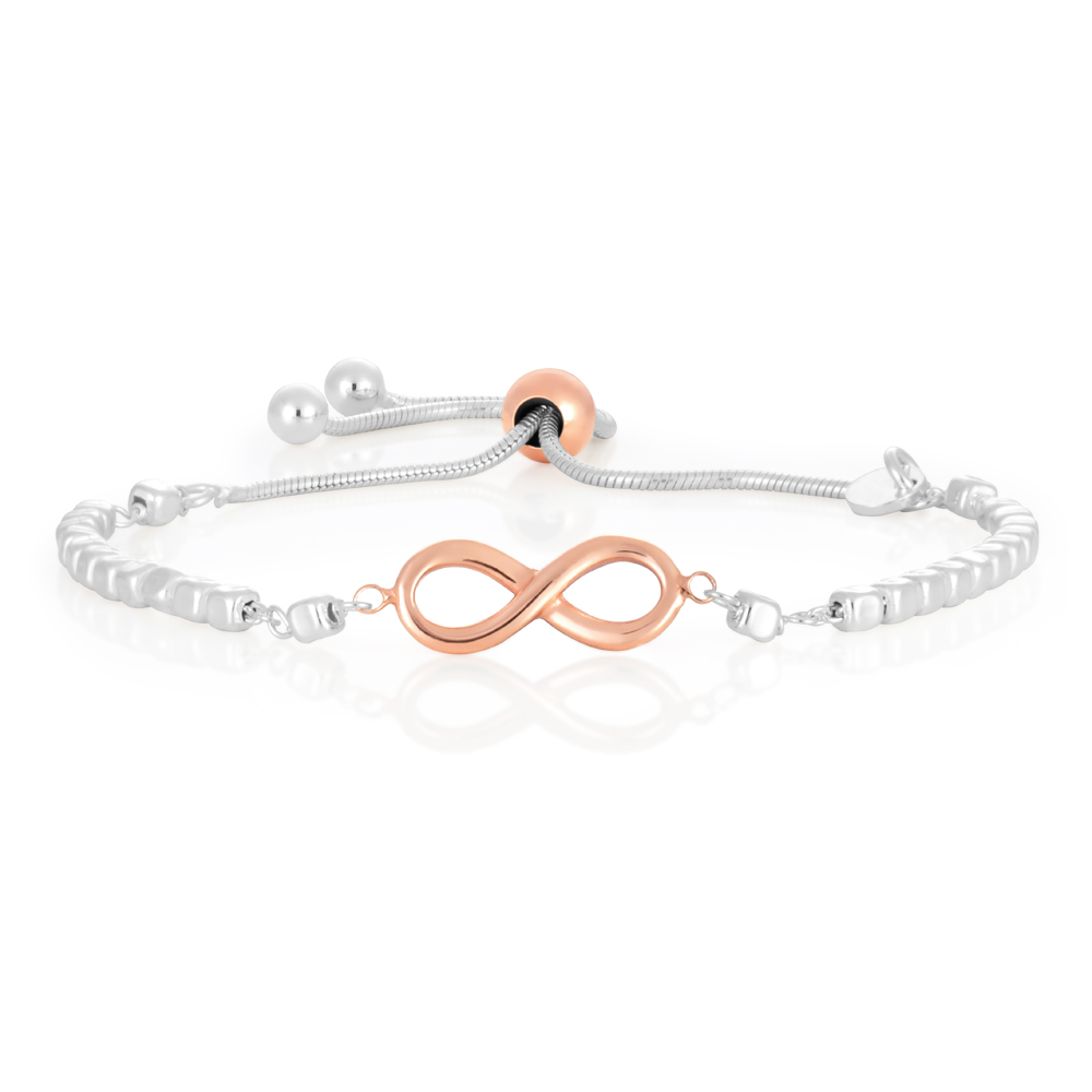 Sterling Silver and Rose Gold Plate Infinity Fancy Slider Bracelet