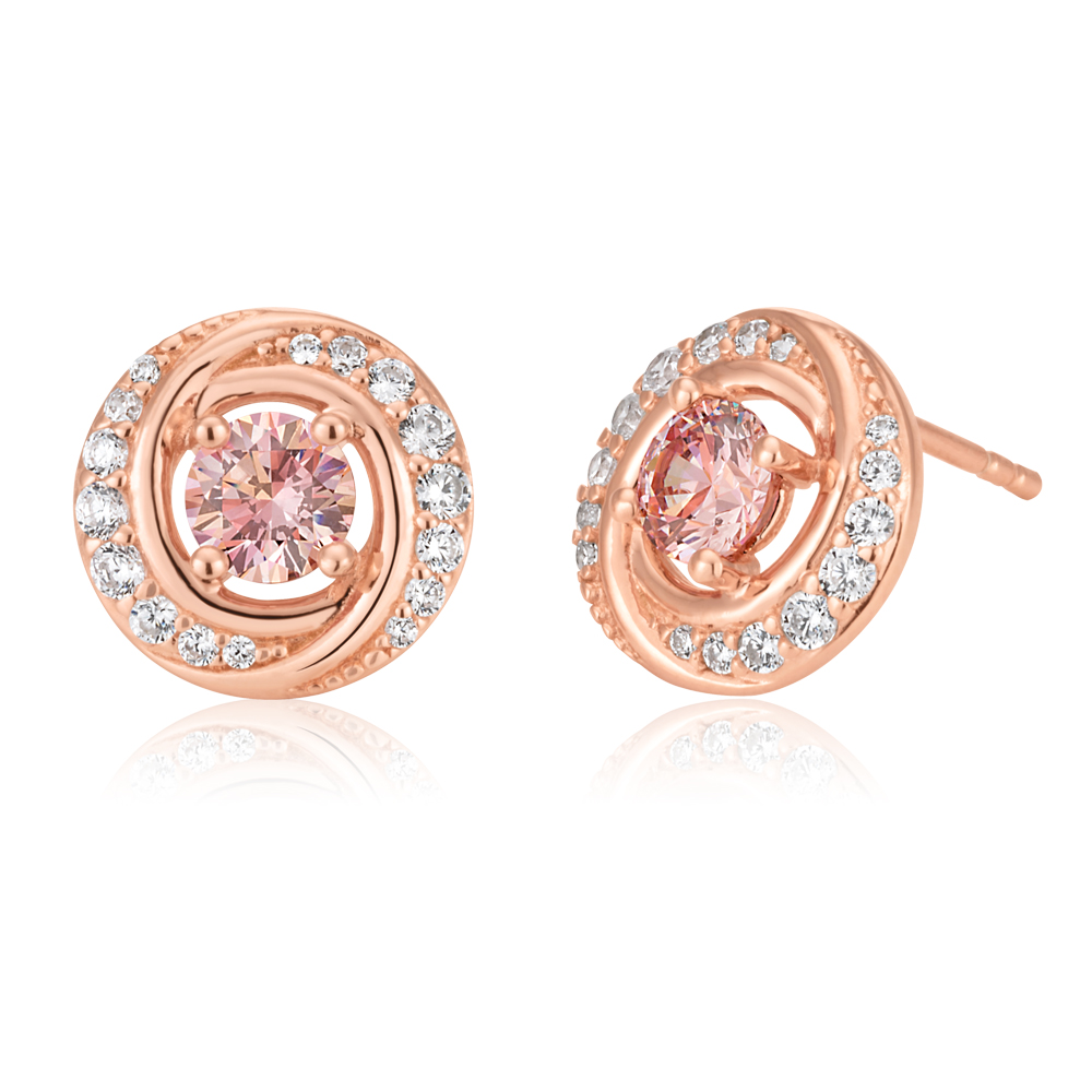 Sterling Silver and Rose Gold Plated Crystal and Zirconia Studs