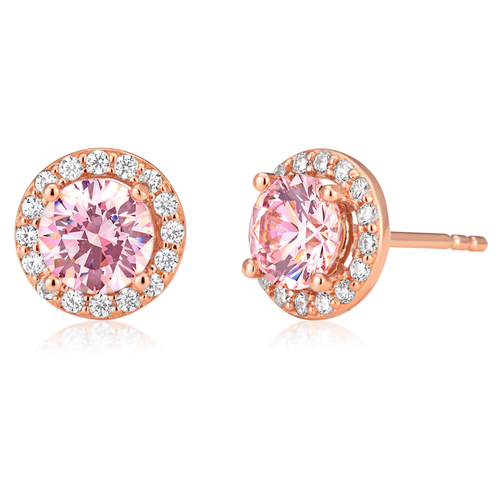 Sterling Silver and Rose Gold Plated Crystal and Zirconia Stud Earrings