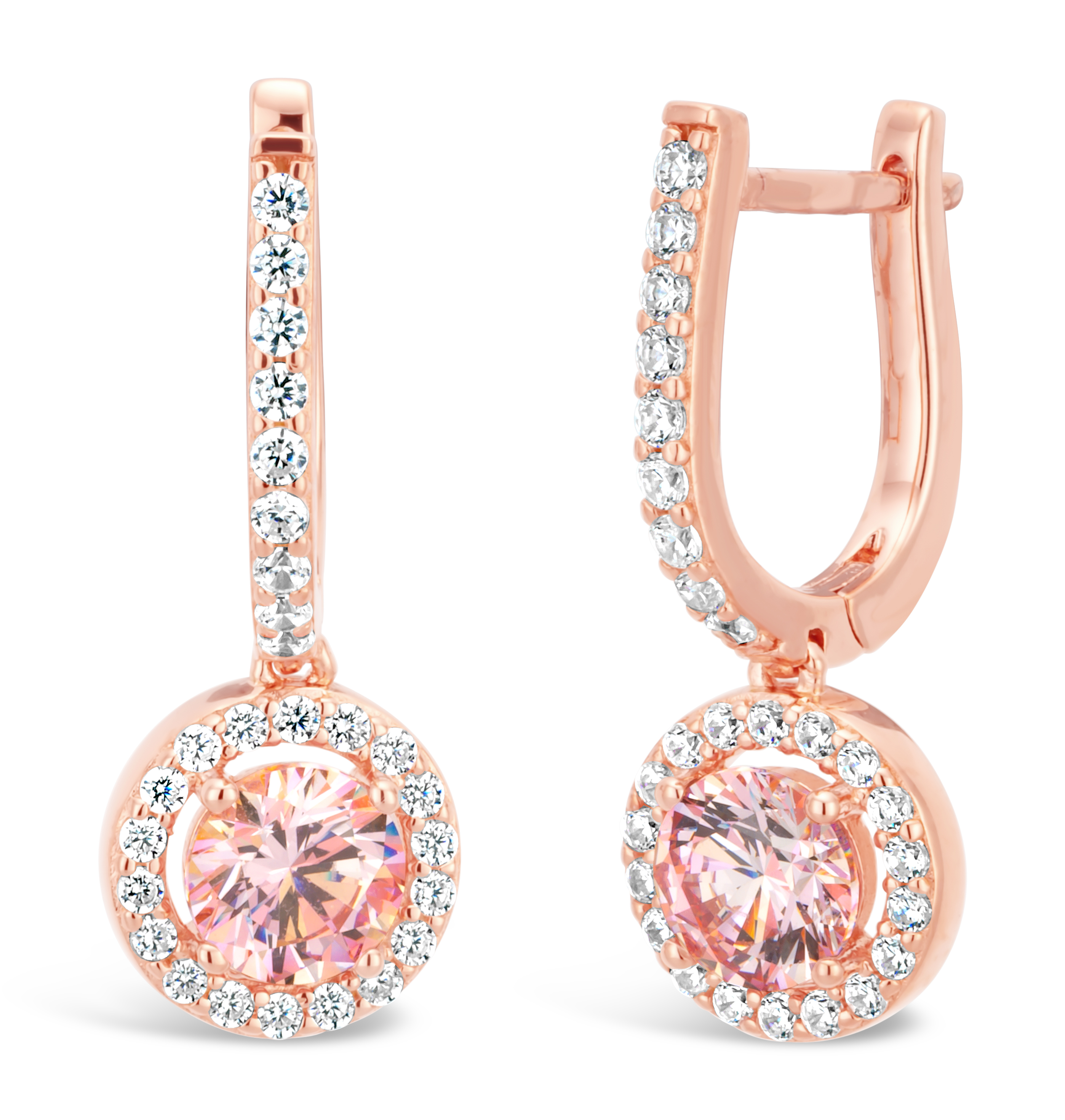 Sterling Silver and Rose Gold Plated Crystal and Zirconia Earrings