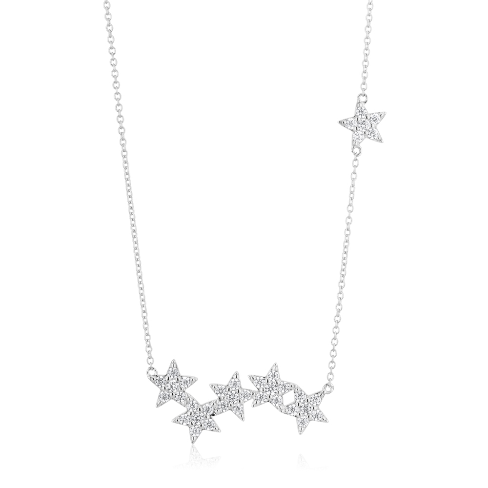 Sterling Silver Zirconia Star Necklet