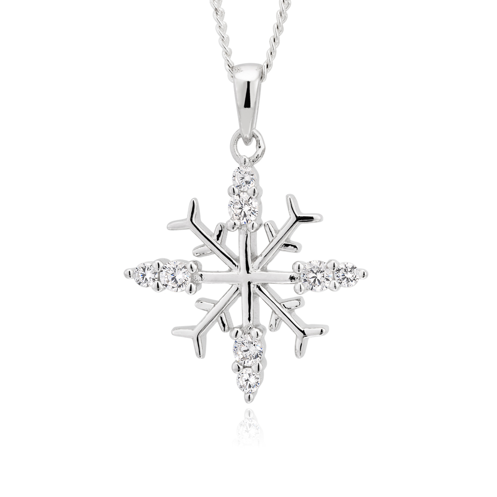 Sterling Silver Zirconia Snowflake Pendant