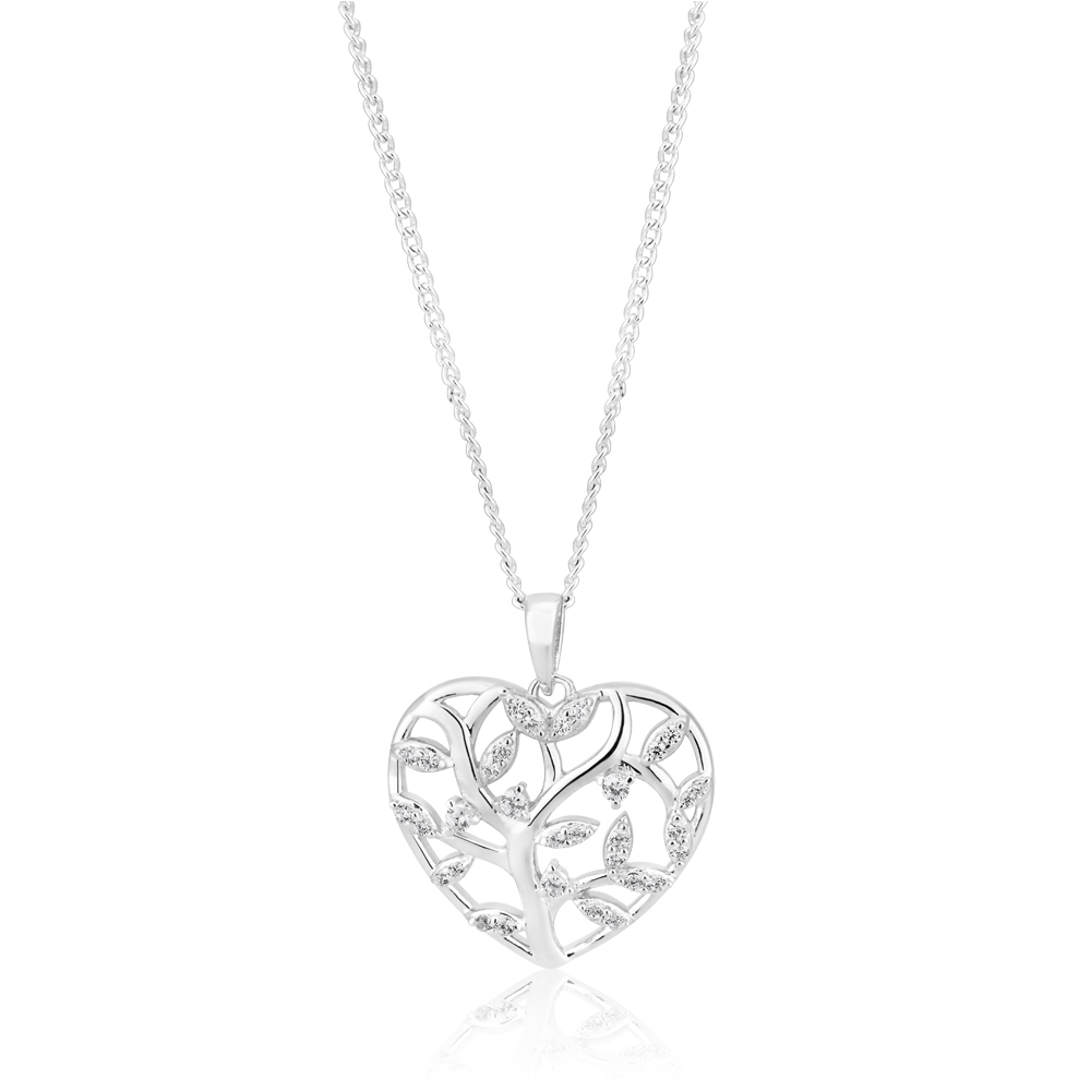 Sterling Silver Zirconia Tree of Life Hear Pendant
