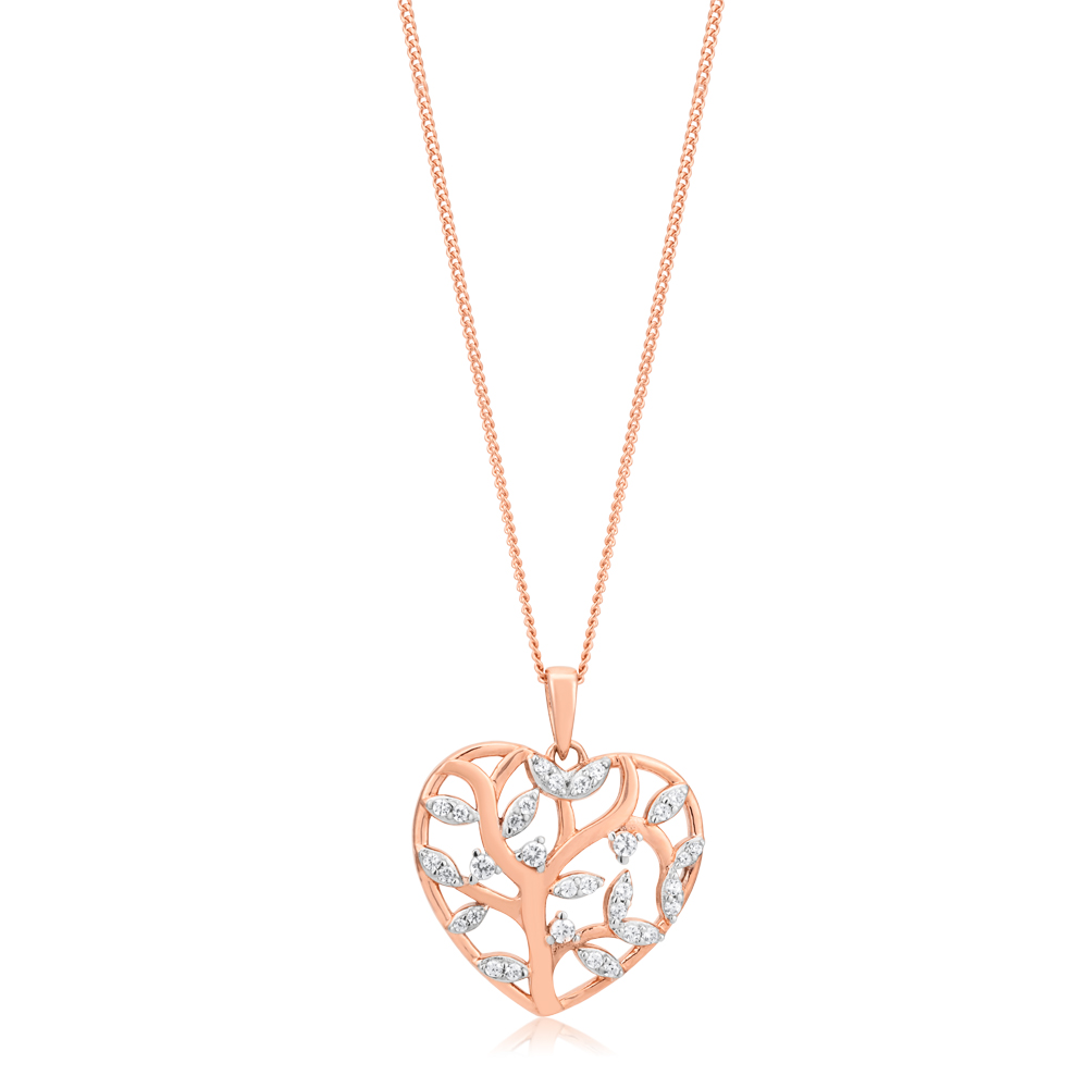 Sterling Silver and Rose Gold Plate Zirconia Tree of Life Heart Pendant