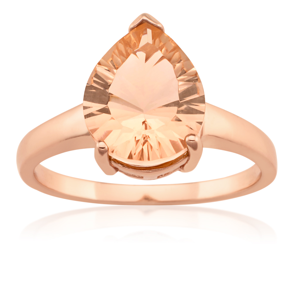 Rose Gold Plated Pear Shape Morgalite Pink Obsidian Ring