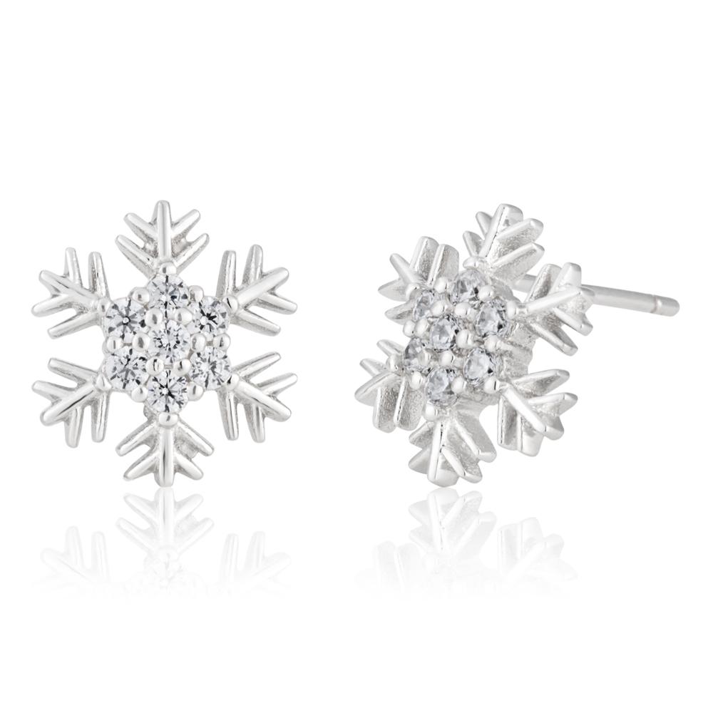 Sterling Silver Cubic Zirconia Snowflake Earrings