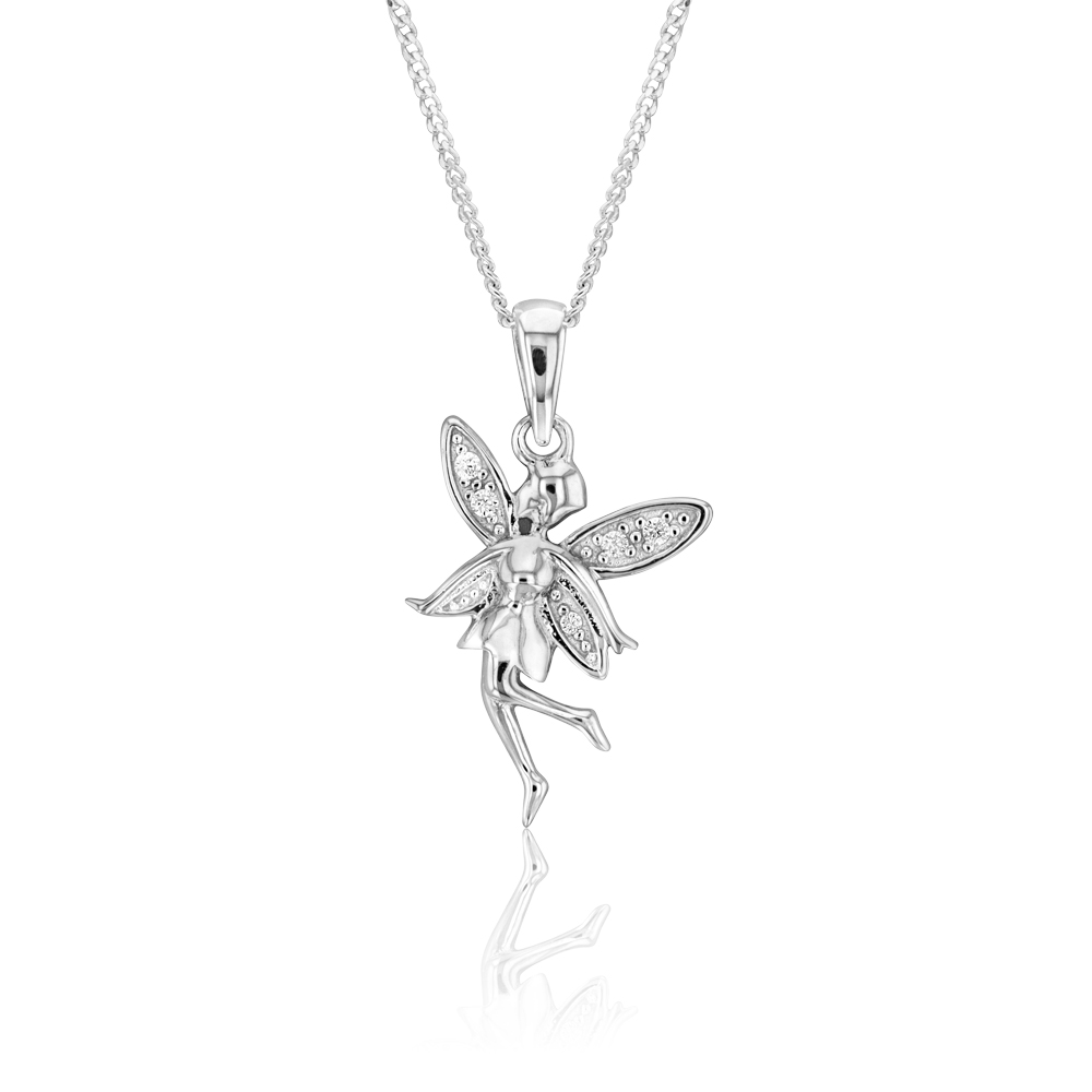 Sterling Silver Cubic Zirconia Fairy Pendant