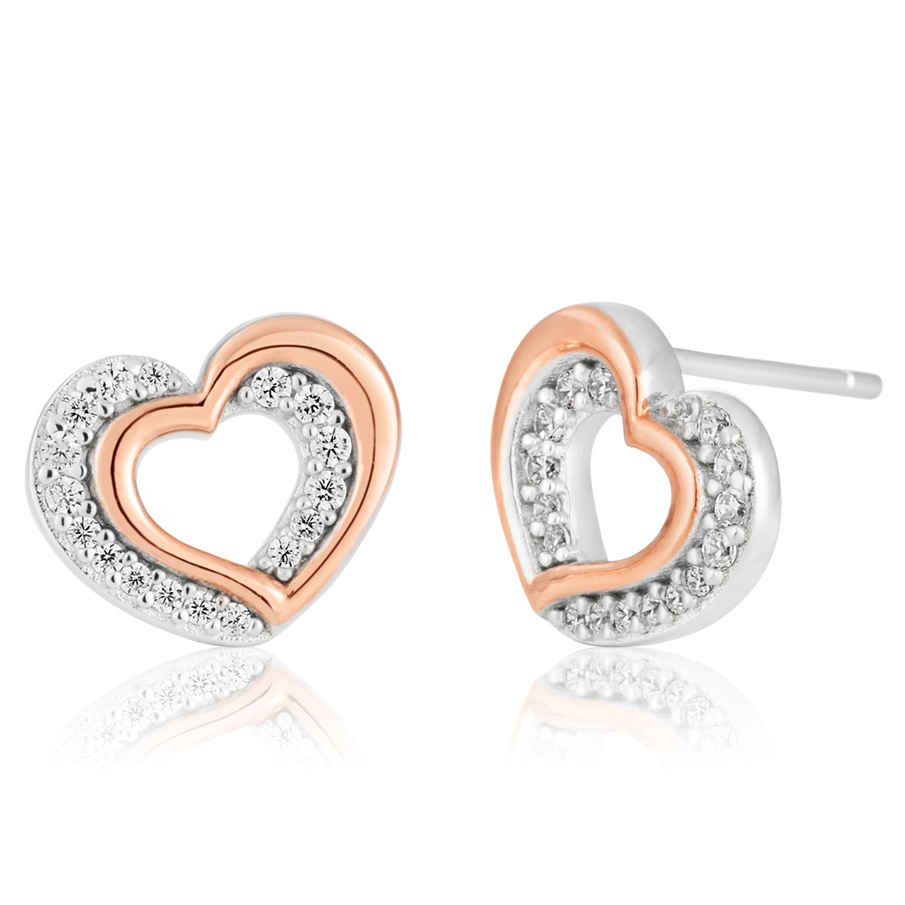 Sterling Silver and Rose Gold Plated Zirconia Double Heart Earrings