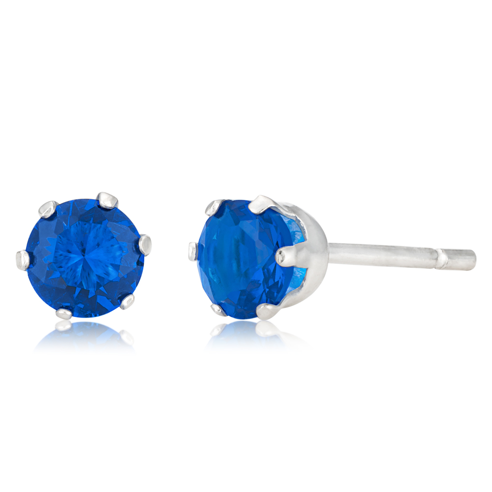 Sterling Silver 5mm 6 Claw Blue Crystal Studs