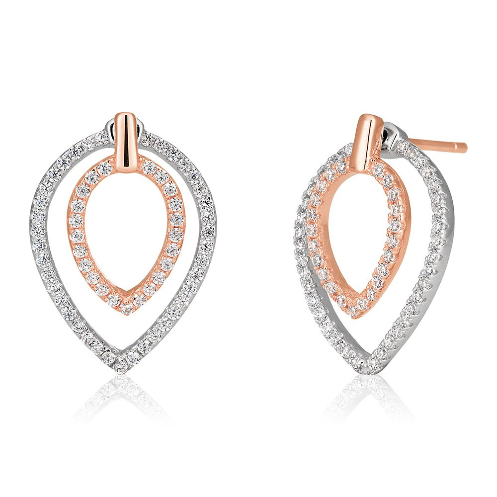 Sterling Silver and Rose Gold Plate Zirconia Teardrop Stud Earrings