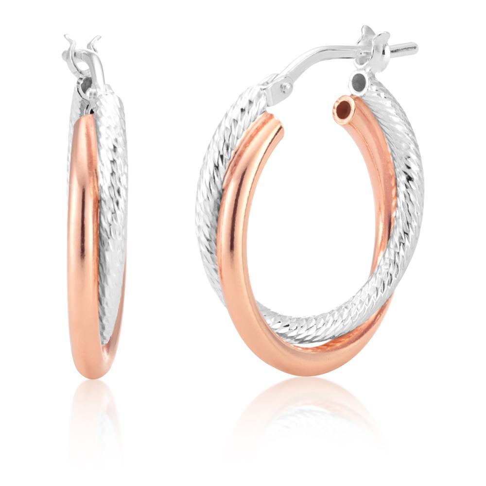 Sterling Silver Double Hoop With Twist 15mm Earrings