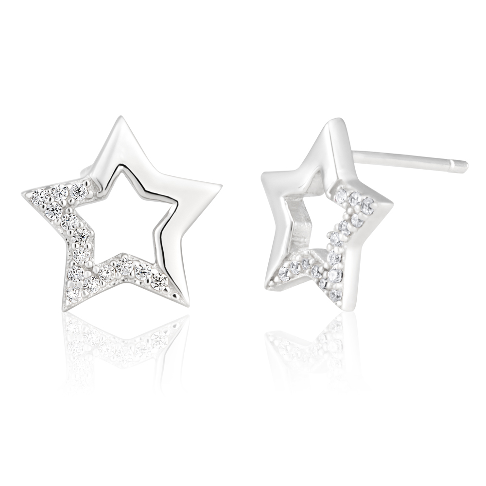 Sterling Silver Zirconia Open Star Stud Earrings SS