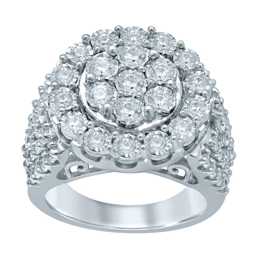 Sterling Silver 2 Carat Diamond Ring