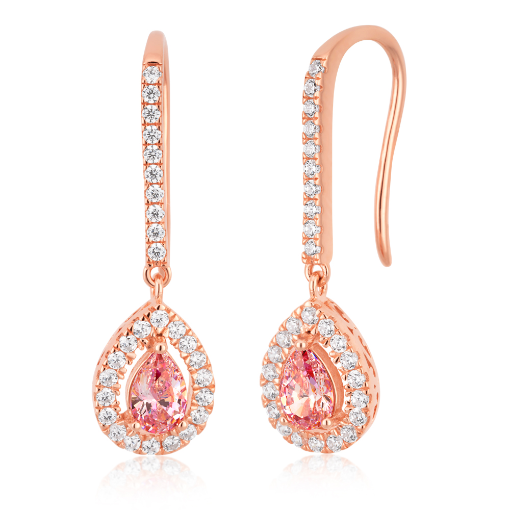 Sterling Silver Rose Plated Zirconia Pear Earrings