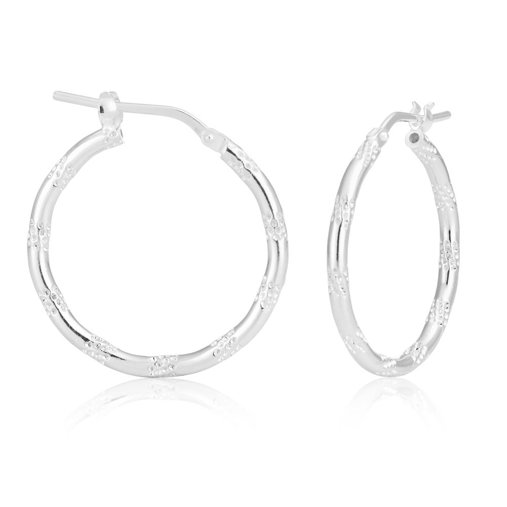 Sterling Silver Fancy Spotted Hoop Earrings