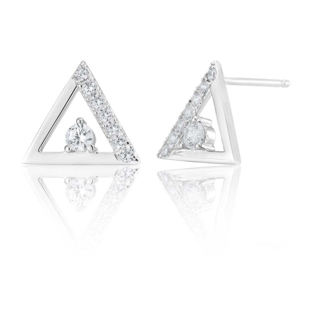 Sterling Silver Cubic Zirconia Triangle Stud Earrings