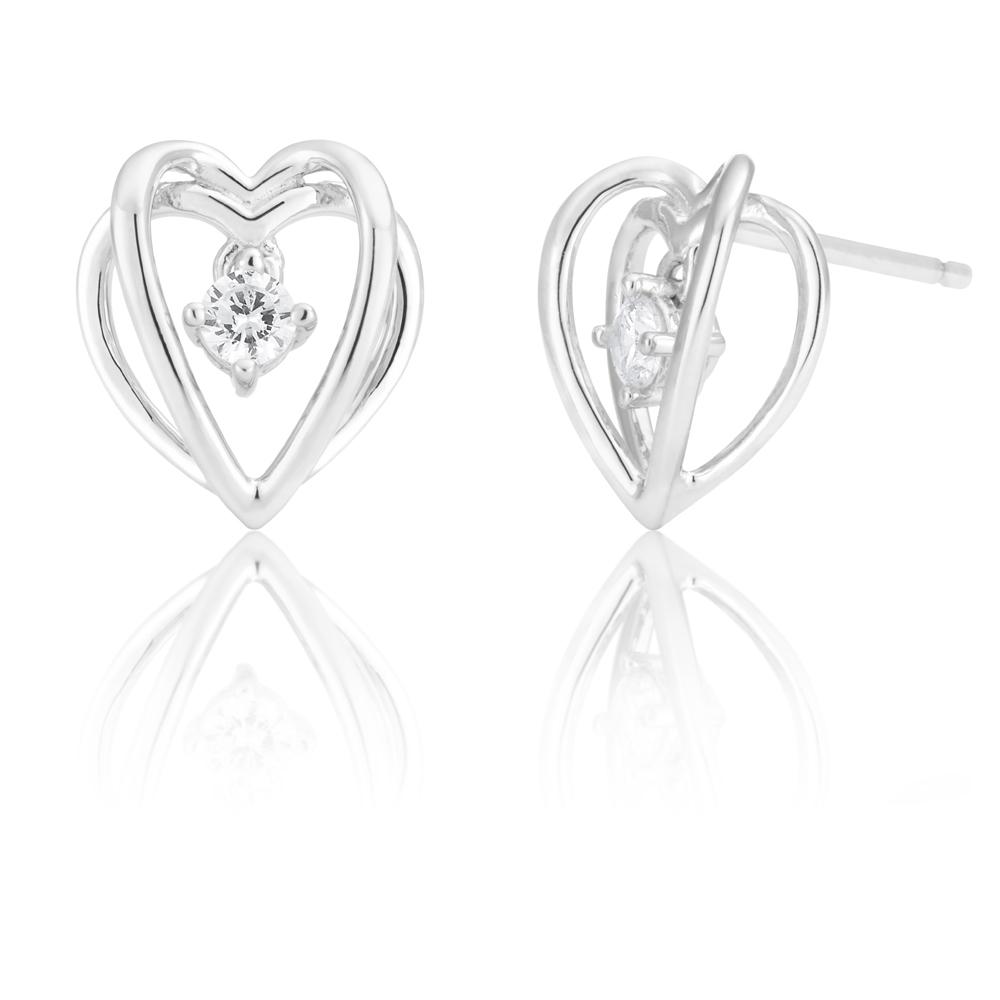 Sterling Silver Zirconia Double Open Heart Studs
