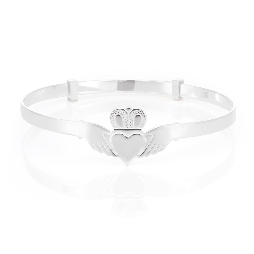 Sterling Silver Claddagh Expandable Baby Bangle