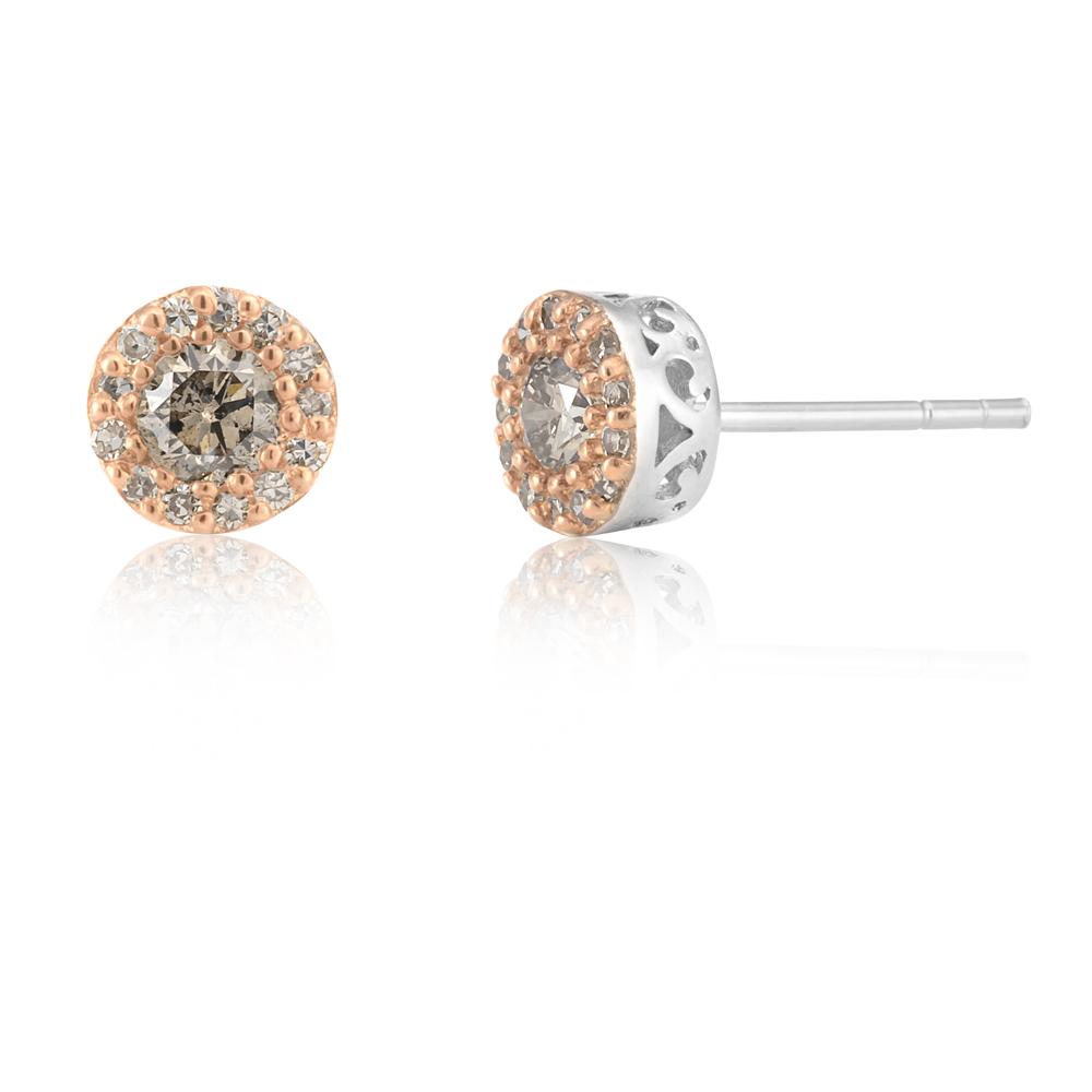 Sterling Silver 1/2 Carat Champagne Diamond Stud Earrings With Australian Diamonds