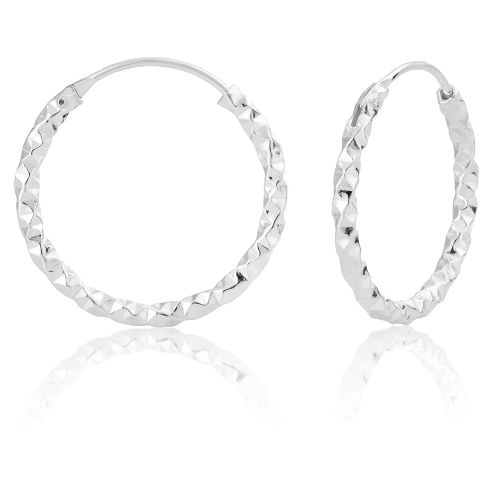 Sterling Silver 21mm Fancy Hoops