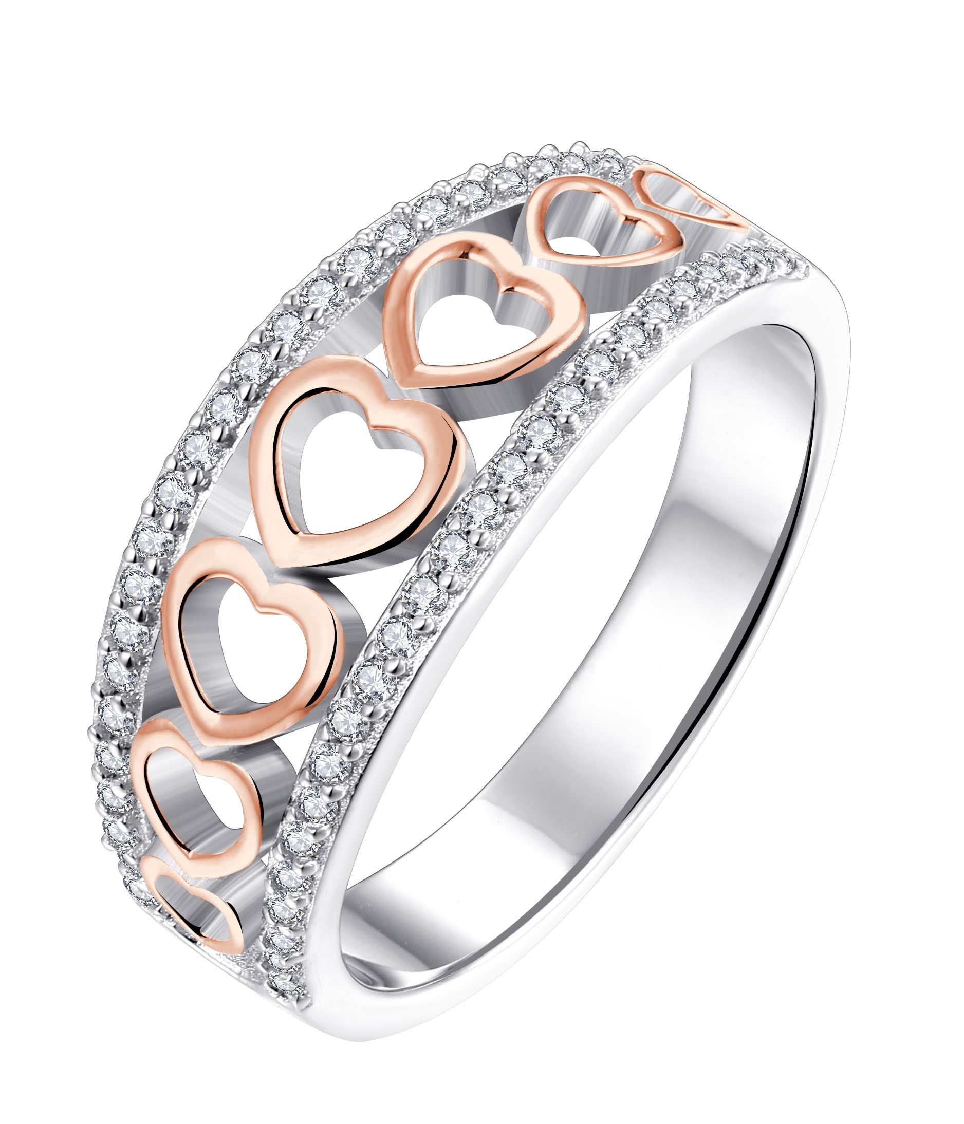 Sterling Silver and Rose Gold Plated Zirconia Graduated Open Heart Ring   *NO RESIZE*