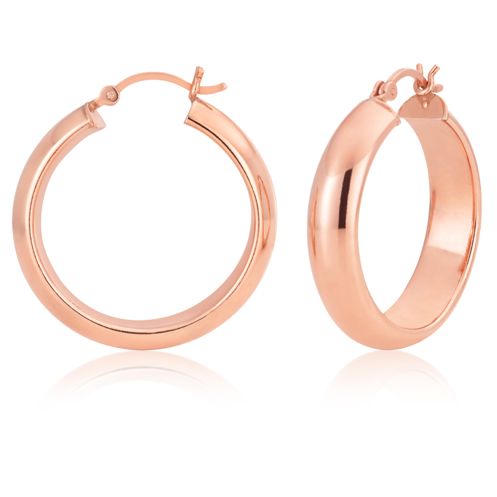 Sterling Silver Rose Gold Plated 30mm Half Round Hoop Earrings