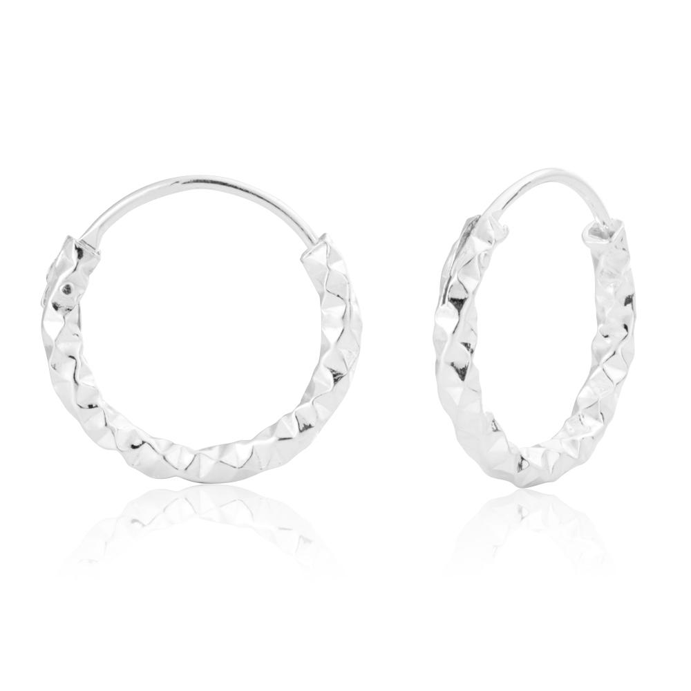 Sterling Silver 15mm Fancy Dicut Sleeper Earrings