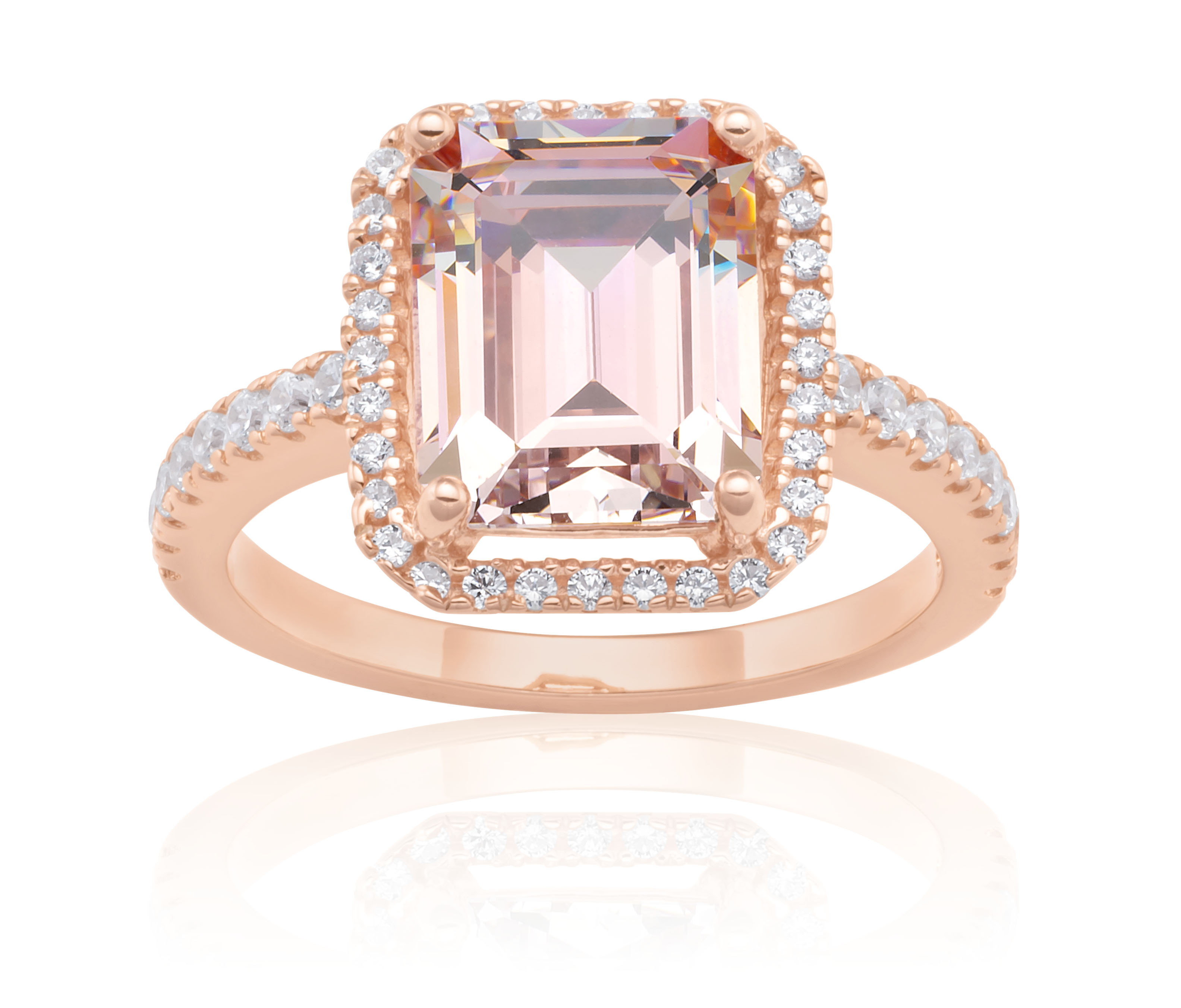 Sterling Silver and Rose Plated Crystal and Zirconia Ring