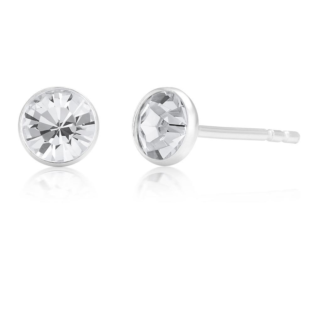 Sterling Silver 5mm White Zirconia Bezel Studs