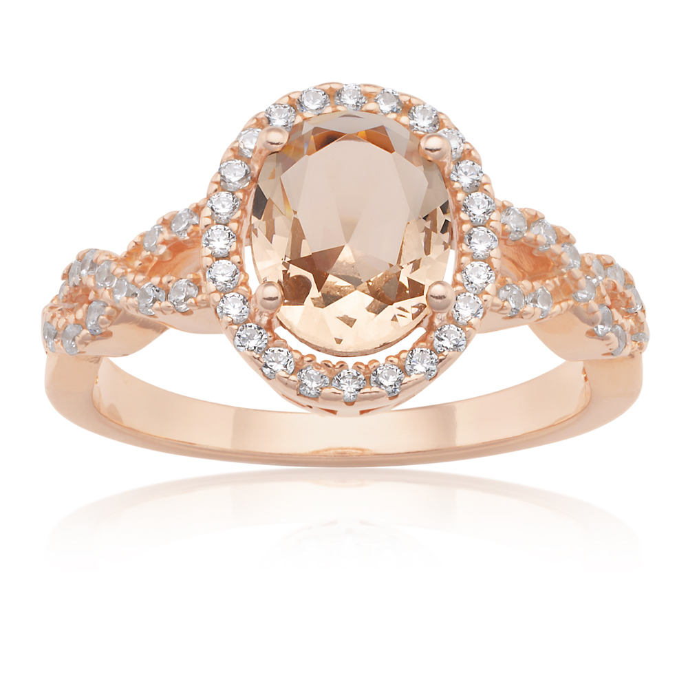 Sterling Silver and Rose Plated Oval Crossover Crystal and Zirconia Ring  *No Resize*