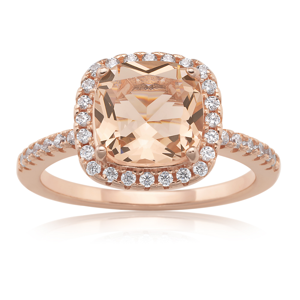 Sterling Silver and Rose Plated Crystal and Zirconia Cushion Cut Ring  *No Resize*