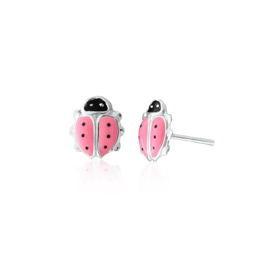 Sterling Silver Pink and Black Ladybird Stud Earrings