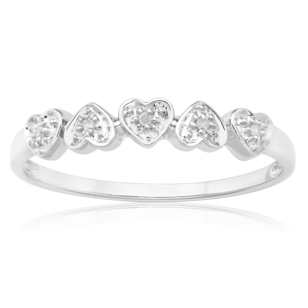 Sterling Silver 0.02 Carat Five Hearts Diamond Ring with 5 Brilliant Cut Diamonds