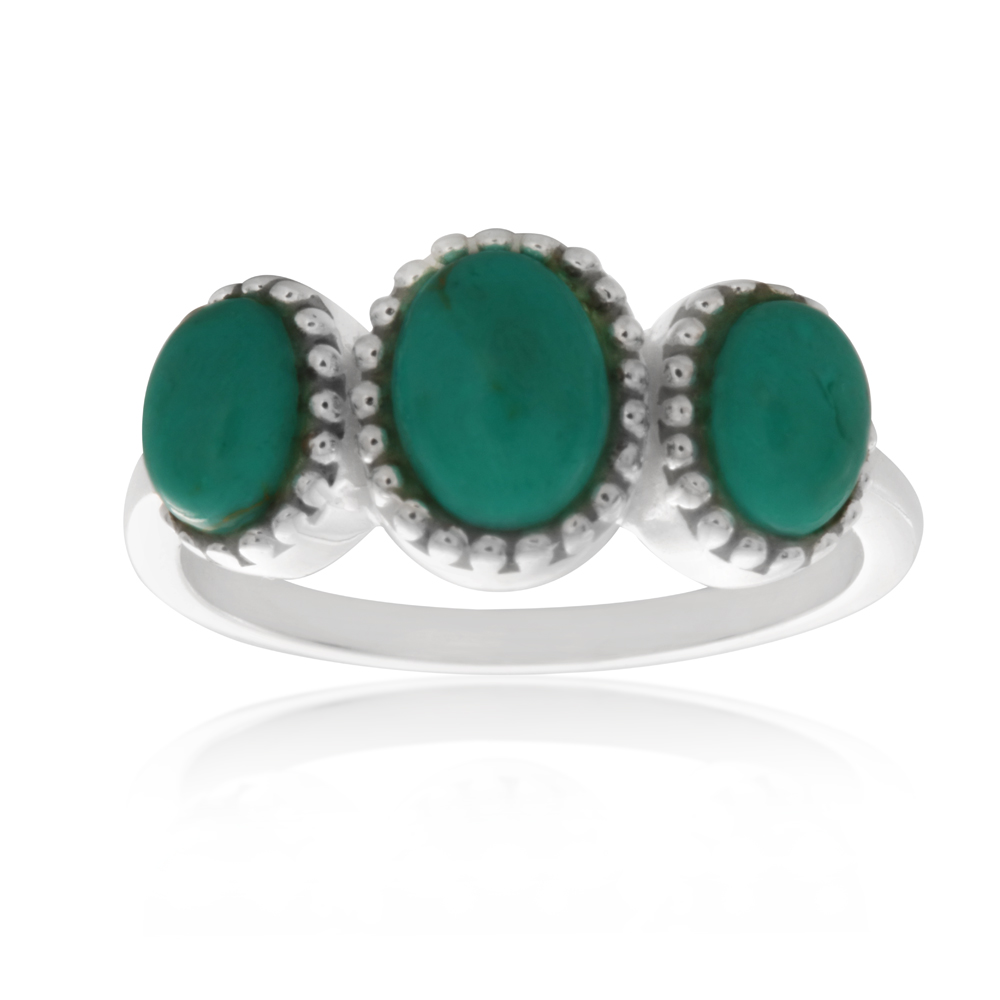 Sterling Silver Created Turquoise Oval Trilogy Ring