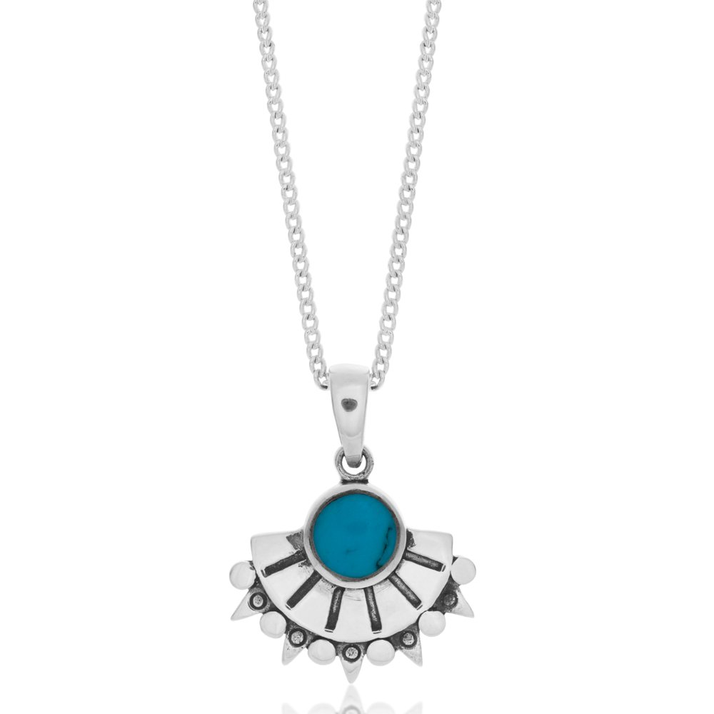Sterling Silver Created Turquoise Fancy Fan Pendant