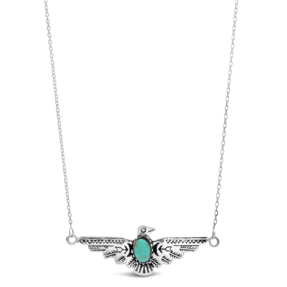 45cm Sterling Silver Winged Eagle Created Turquoise Pendant on Sterling Silver Chain